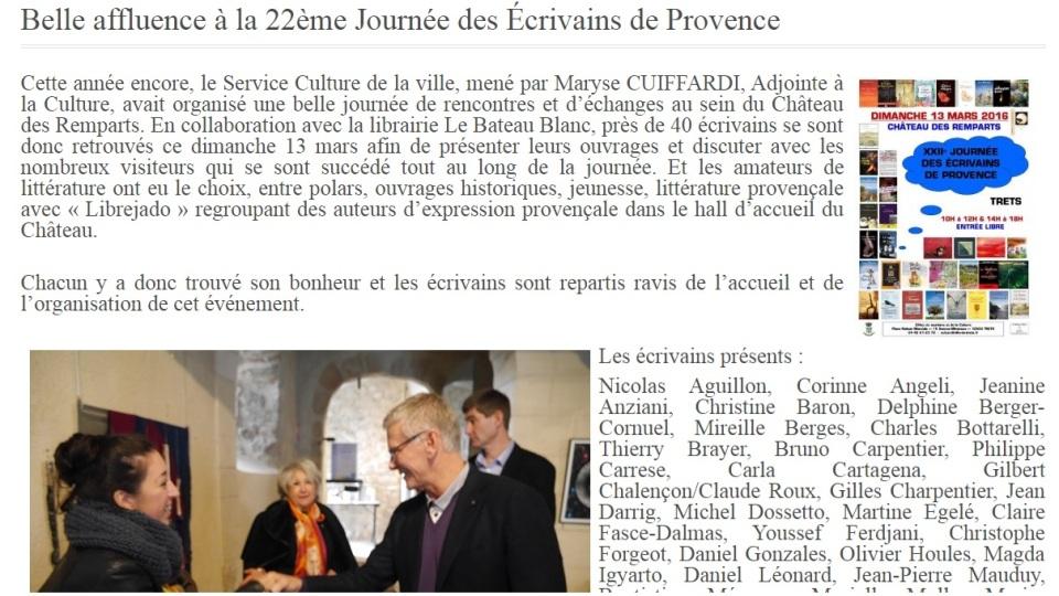 2016.03.15 Site Mairie de Trets Journée des écrivains